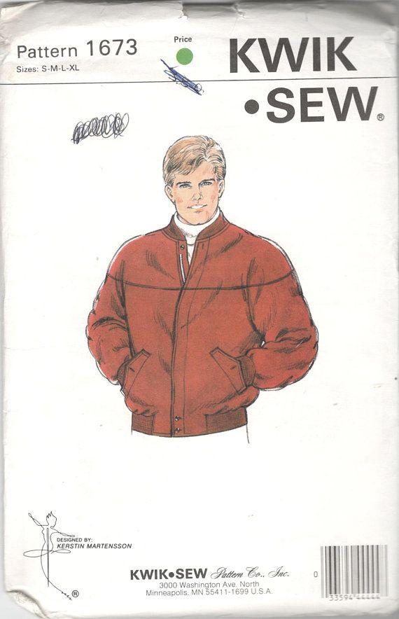 Kwik Sew 16731980s Mens Zip Front Jean Jacket Pattern Curved Yoke ...