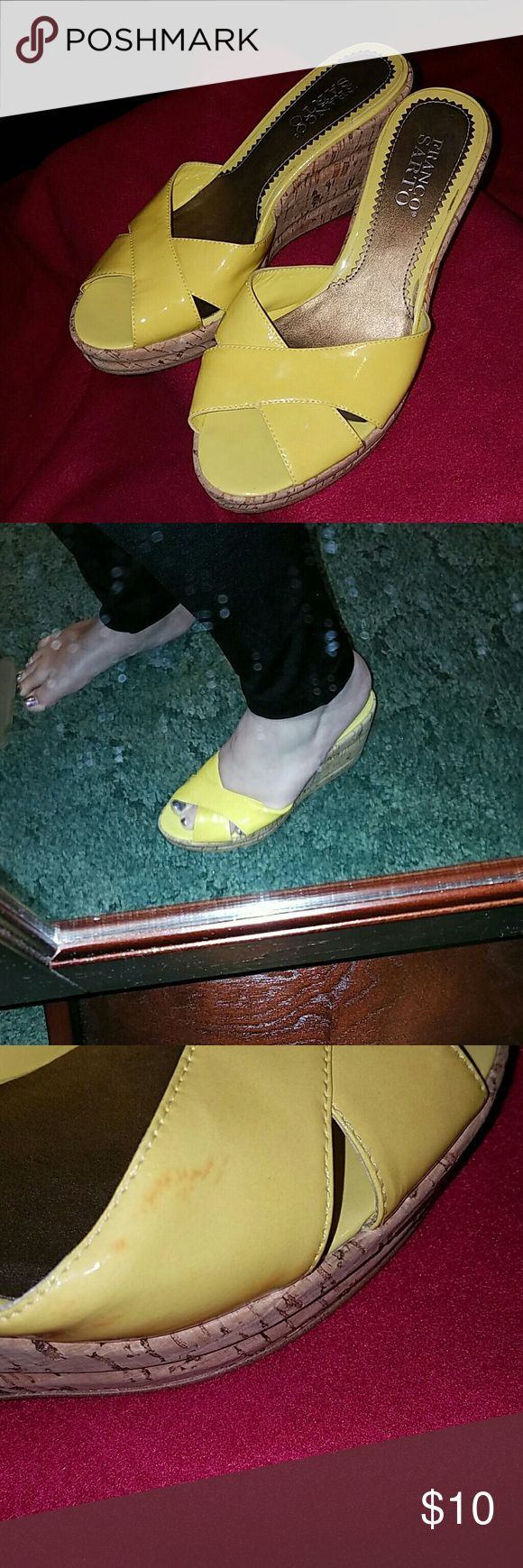 Franco Sarto yellow wedge Used yellow wedges. Slight stain as shown in picture 3.  Make an offer Franco Sarto Shoes Wedges