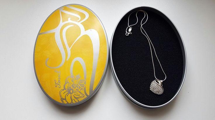 FOSSIL Damen Halskette Collier 925 Sterling Silber Herz Strass Steine 45 cm OVP