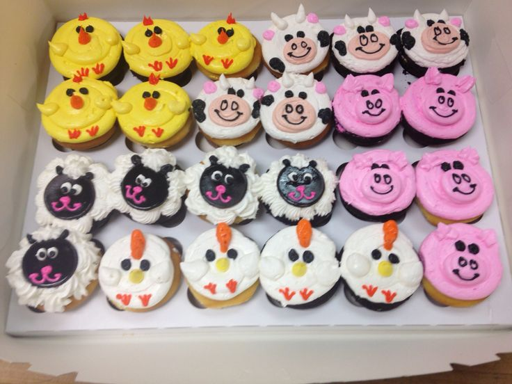 Cupcake Decorating Ideas Animals : Farm animal cupcakes made out of buttercream frosting ...