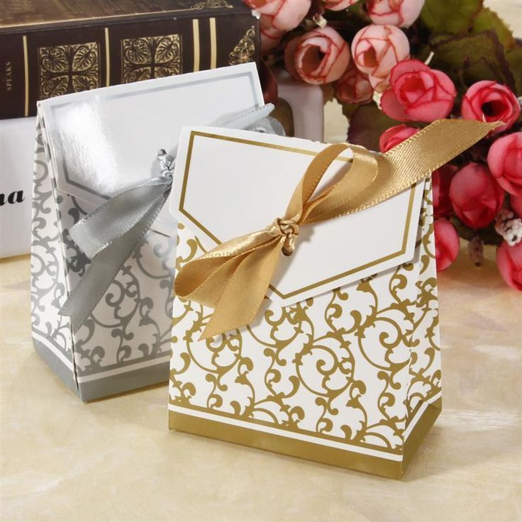 100Pcs Gold Silver Candy Gift Boxes Bags With Ribbon Wedding Favour Gift Boxes #HOURONG