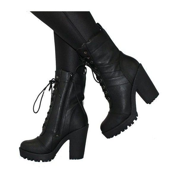 high heeled combat boots via Polyvore featuring shoes, boots, ankle booties, military boots, black high heel booties, black army boots, black booties and military combat boots