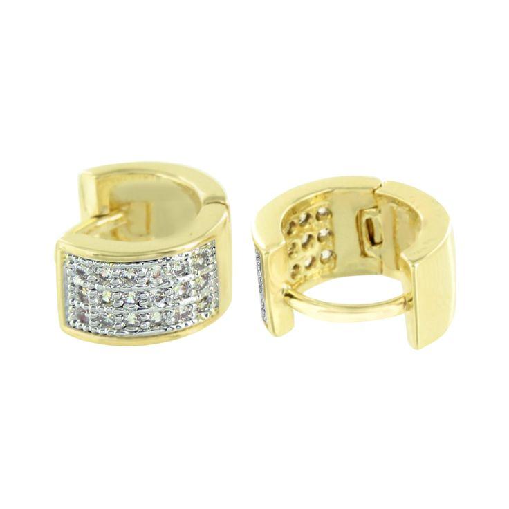 Ladies Hoop Earrings Mens Gold Finish Simulated Diamonds Pave