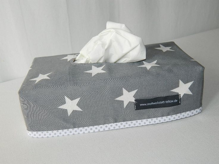 Kisten & Boxen - Hülle für Kleenex-Box, Sterne grau - ein Designerstück von stoffwerkstatt-teltow bei DaWanda