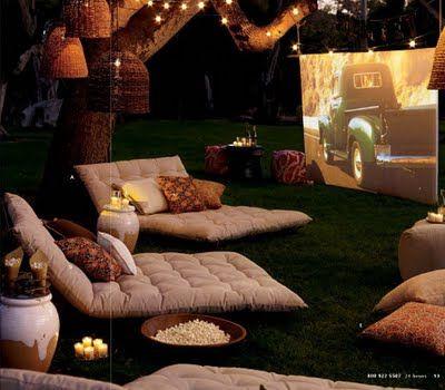 Backyard movie night. I want those comfy looking seats!