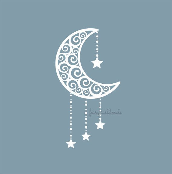 Moon with stars Wall Decal  swirl crescent by FairyDustDecals