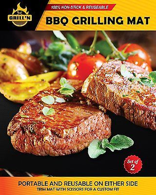 BEST BBQ Grill Mat - Set of 2 for Gas, Charcoal & Electric Grills - FDA Heavy -