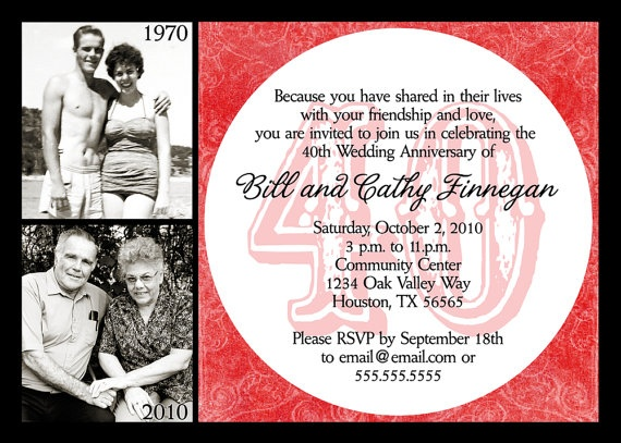 40th Anniversary Invitation Ruby Anniversary by miragreetings, $16.00