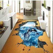 Por encargo del envío libre shark dolphin baño cocina restaurante del vestíbulo del hotel piso 3d papel pintado pintura mural(China)