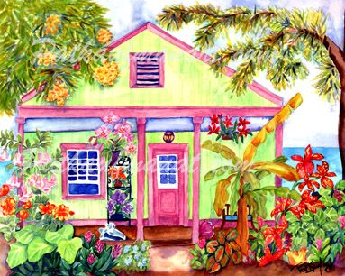 cottages and beach living paintings Conch Cottage by the Sea