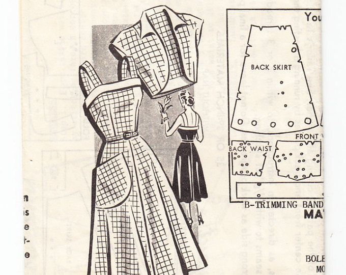 Vintage 1950 Sew-Rite 8818 Sewing Pattern Misses' One-Piece Dress and Bolero Jacket Size 16-1/2 Bust 35