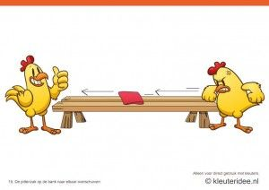 Bewegingskaarten kip voor kleuters 15, De pittenzak op de bank naar elkaar overschuiven , kleuteridee.nl , thema Lente, Movementcards for pr...