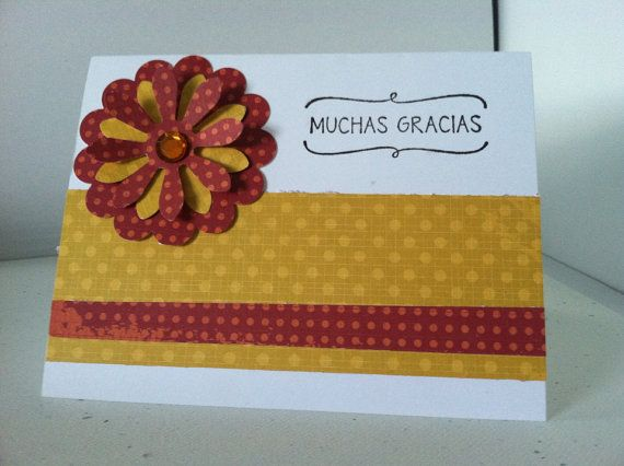 Muchas Gracias Note Card, Blank inside, 4 x 6 card with envelope on Etsy, $3.95