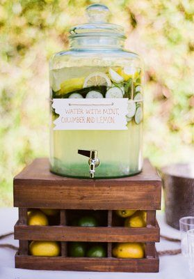 Mint, cucumber, and lemon infused water—a perfect refreshing drink to great guests with at a summer wedding ceremony