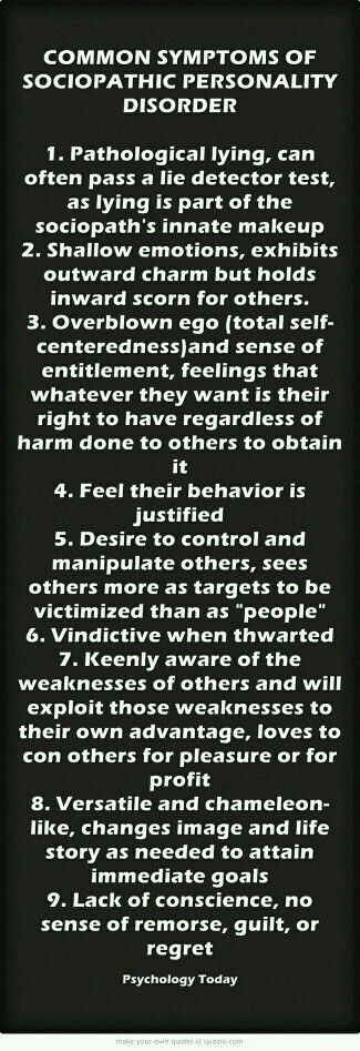 Common Symptoms Of Sociopathic Personality Disorder
