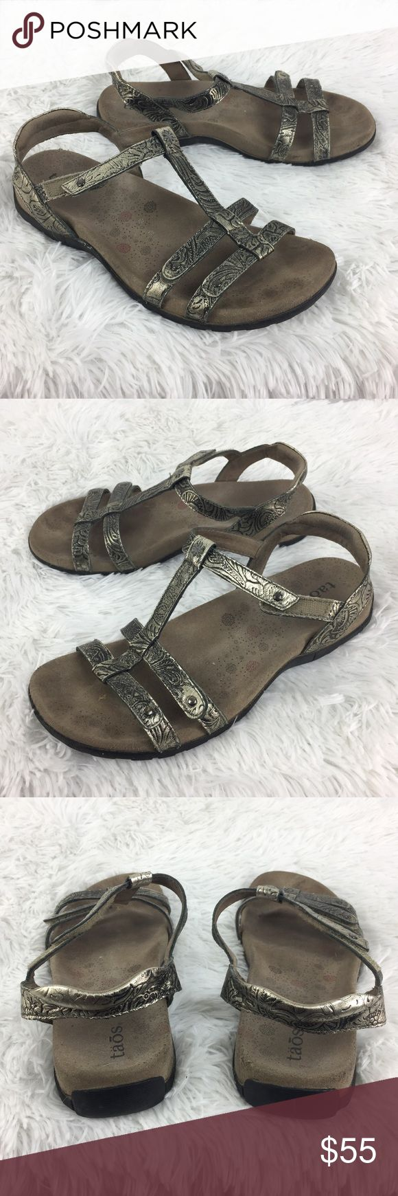 Taos Trophy Embossed leather comfort sandals 8.5 Taos Trophy Embossed Pewter Strappy Leather Sandals Comfort Women's Size 8 EU 39  Size: 8 M Color: Pewter Silver Style Name/Number: Trophy  In good preowned condition with no known flaws and light overall wear. Taos Footwear Shoes Sandals