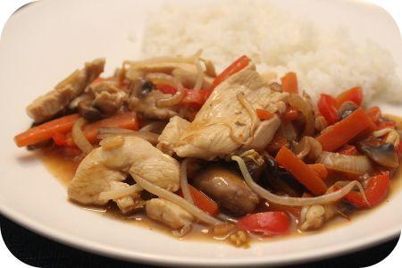 Op dit eetdagboek kookblog : Ingrediënten: 1 wortel, 1 rode paprika, rijst, 1 kipfilet, 1 ui, 2 teentjes knoflook, 1 theelepel sambal, 250 gram champignons, 300 ml kippenbouillon, 2 ee