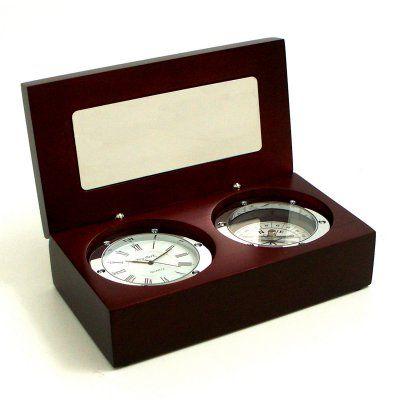 Bey-Berk International Clock / Compass in Wood Box - Tarnish Proof - SQ569T