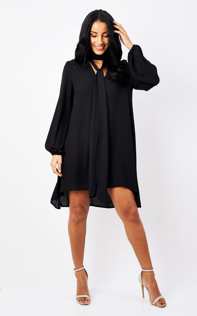 Black Choker Pussy Bow Dress - Silk Fred A bit dressier than a shirt dress, a perfect lbd if you don't like your tummy