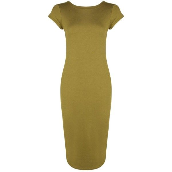 Boohoo Cara Cap Sleeve Jersey Bodycon Midi Dress ($14) ❤ liked on Polyvore featuring dresses, body con dresses, brown bodycon dress, bodycon mini dress, brown maxi dress and midi dress