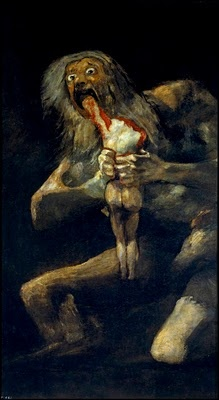 Goya's 'Saturn devouring his Son.'  One of his Black Paintings that were painted directly onto the walls of his house.  I find it quite terrifying! I saw this picture in a magazine when I was really young and it's stayed with me, vividly, ever since.  Power of Art I guess.