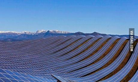 Solar farm in Les Mées, France - via 9gag.com