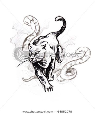 Just the panther. Love the meaning about panther tattoos also