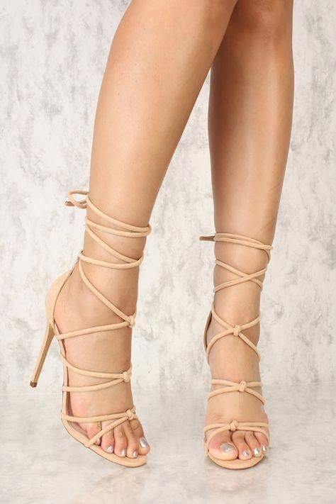 Sexy Camel Strappy Lace Up Single Sole High Heels Faux Suede  heelsclassy f40482287