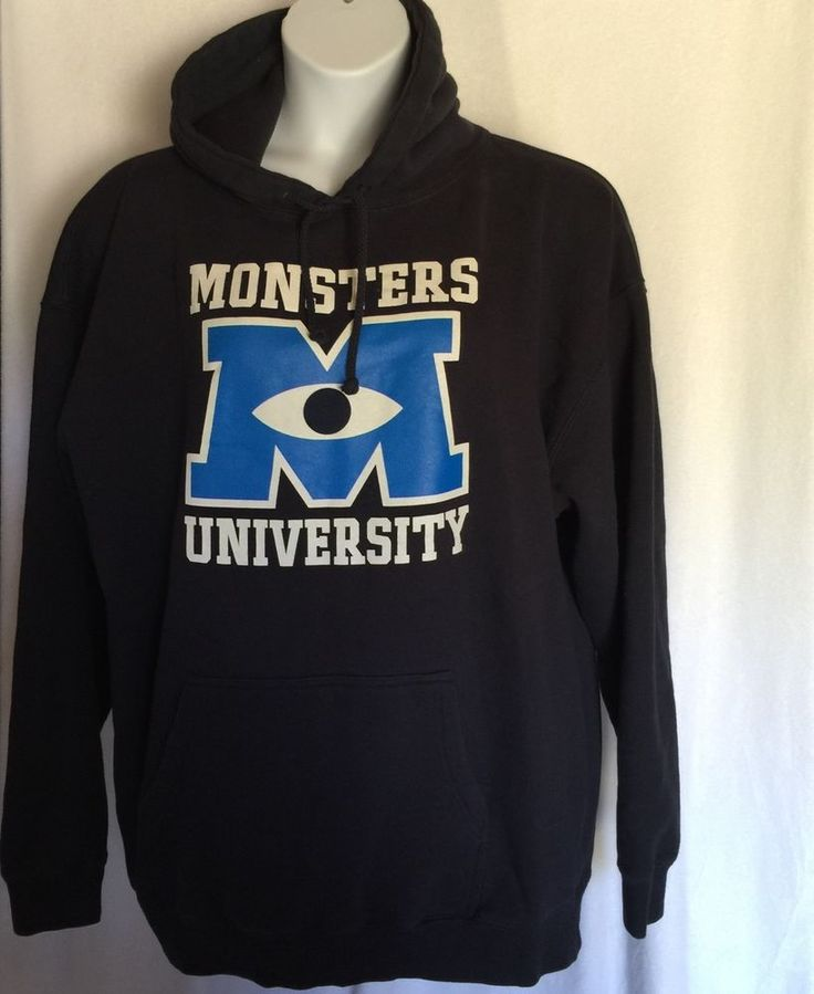 Monsters Inc University Hoodie Hooded Sweatshirt XXL Navy Blue Disney Pixar #DisneyPixar #Hoodie
