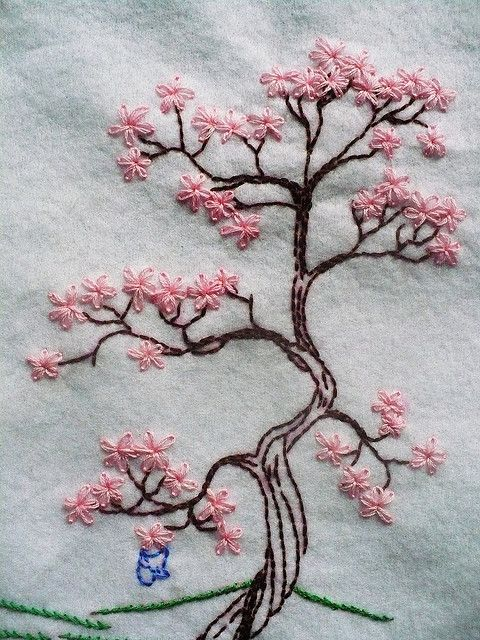 I love this. Too bad I don't know how to embroidery. Beautiful cherry blossom