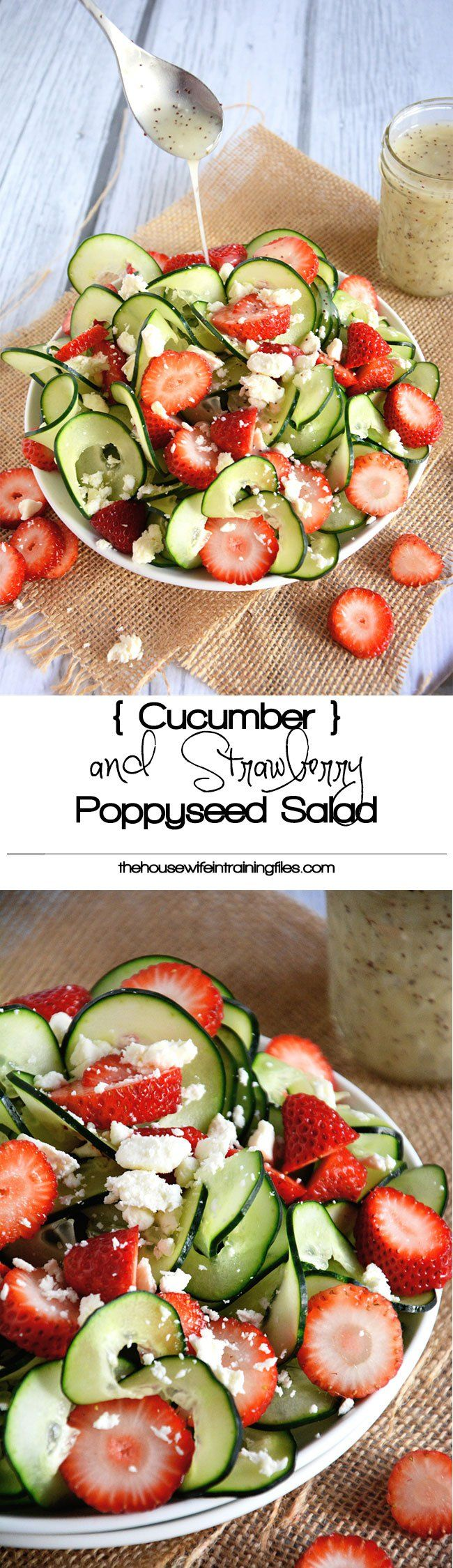 A refreshing and crisp strawberry poppyseed salad with spiralized cucumbers and…