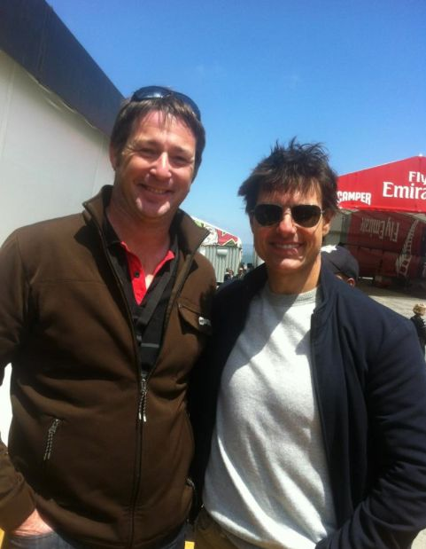 Yes! Mud House Winemaker Ben Glover with Tom Cruise at the NZ Base of the America's Cup #nzwine
