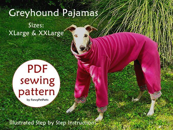 2 in 1 DOWNLOAD SEWING PATTERNS  2 Greyhound Pajamas 1 Size Small  Paper sizes: A4 Letter Poster