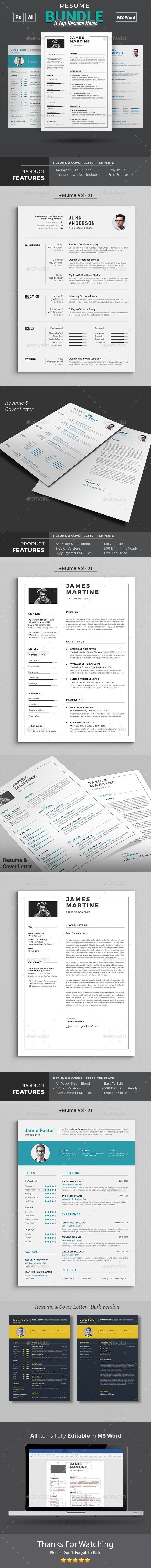 Resume Word Bundle Resumes Stationery 25