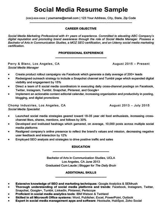Social Media Resume Sample Writing Tips Resume Companion ...