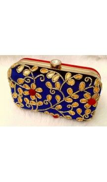 Fashion Clutch Bags in Blue Color with Hand Embroidery Online | FH10341398 Follow Us @heenastyle  #Embroidery #Clutch #Fashion #Bags #Online #Clutchbag #BagsOnline #OnlineShopping #Heenastyle