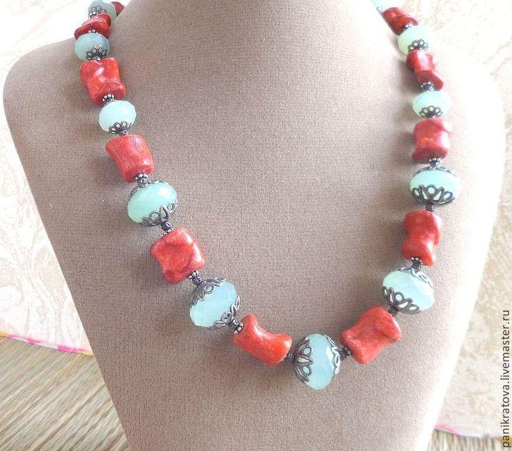 """Купить Колье """"Коралловый риф"""" (хризопраз, коралл) - коралловый цвет, коралл красный, коралл натуральный"""