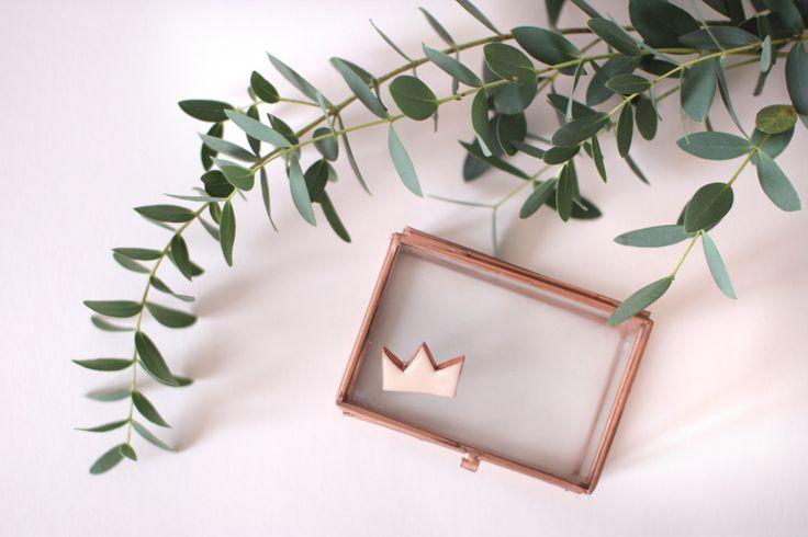 Broche couronne rose et cuivrée en pâte polymère : Broche par mlle-jeanne sur Alittlemarket