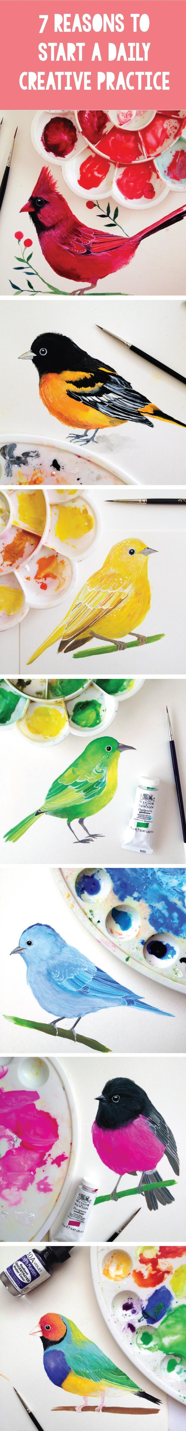 7 Reasons to Start A Daily Creative Practice. Daily bird paintings by PRINTSPIRING.  https://instagram.com/printspiring/