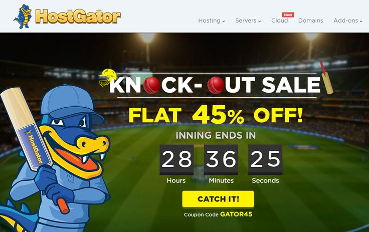 HostGator- Knock-Out Sale - Flat 45% Off on Web Hosting Plans. Only 1 day Left‎  http://goo.gl/ulBDcT  Don't Miss this Offer. Catch It! Coupon Code- GATOR45