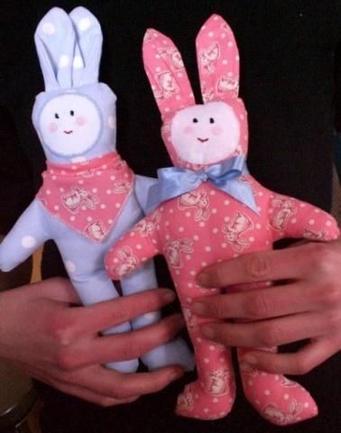Two cloth bunny rabbits