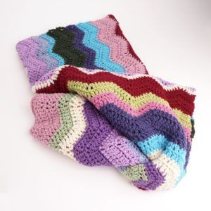Hand Crochet Knit Afghan, Multicolored Chevrons, Pink, Blue, Green, Purple