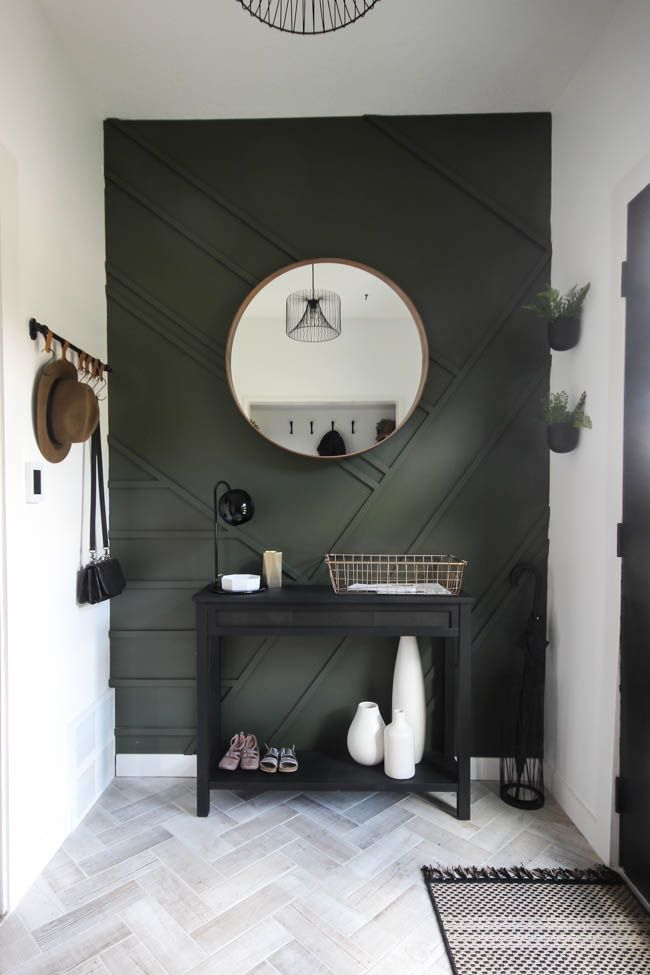 Modern Entryway Makeover Reveal Bedroom Wall Wooden Accent Wall