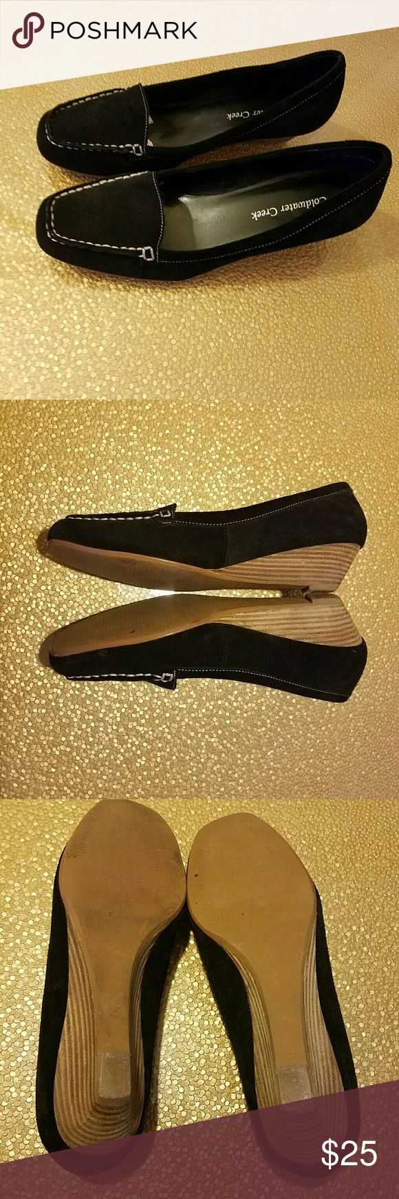 Coldwater Creek Black Suede Low Wedge Loafers, 8 Great condition, suede is unblemished.  Only slight wear is on the heel (shown in the pictures).    Heel height approximately 1.5 inches. Material: Leather.  Additional measurements: Widest Toe Box Width (4 in), Heel Width (approximately 2 in), Shoe Length (slightly longer than 10 in)  Feel free to ask me for any additional details! Coldwater Creek Shoes Wedges
