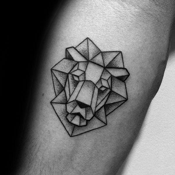 Small Simple Inner Forearm Geometric Lion Tattoos For Gentlemen Geometric Tattoo Simple Geometric Lion Tattoo Tattoo Designs Men