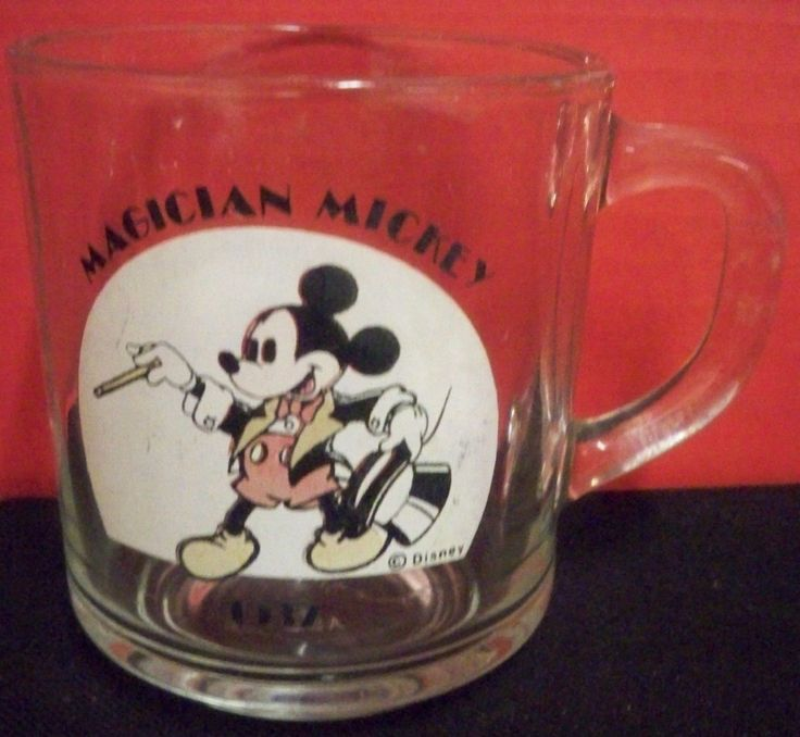 Vintage Disney Magician Mickey Mouse 1937 Clear Glass Coffee Mug Cup Made In Usa