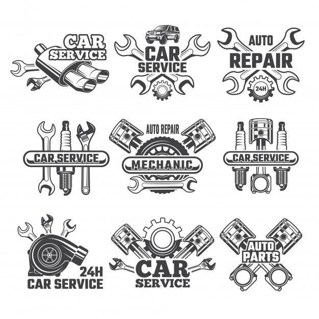 Vintage Logo Set Of Automobile Tools Pre Premium Vector Freepik Vector Logo Vintage Car Retro In 2020 Car Repair Service Auto Service Auto Repair