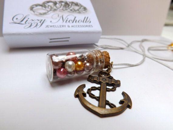 ocean pearl charm bottle necklace by LizzyNicholls on Etsy, £6.00