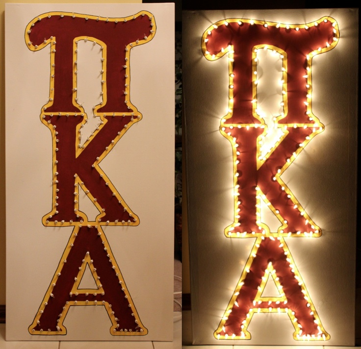 Large canvas + a little paint + some Christmas lights = A Fraternity marquis!  Check out other fun signs at   http://www.etsy.com/shop/SignsoftheSeason?ref=si_shop