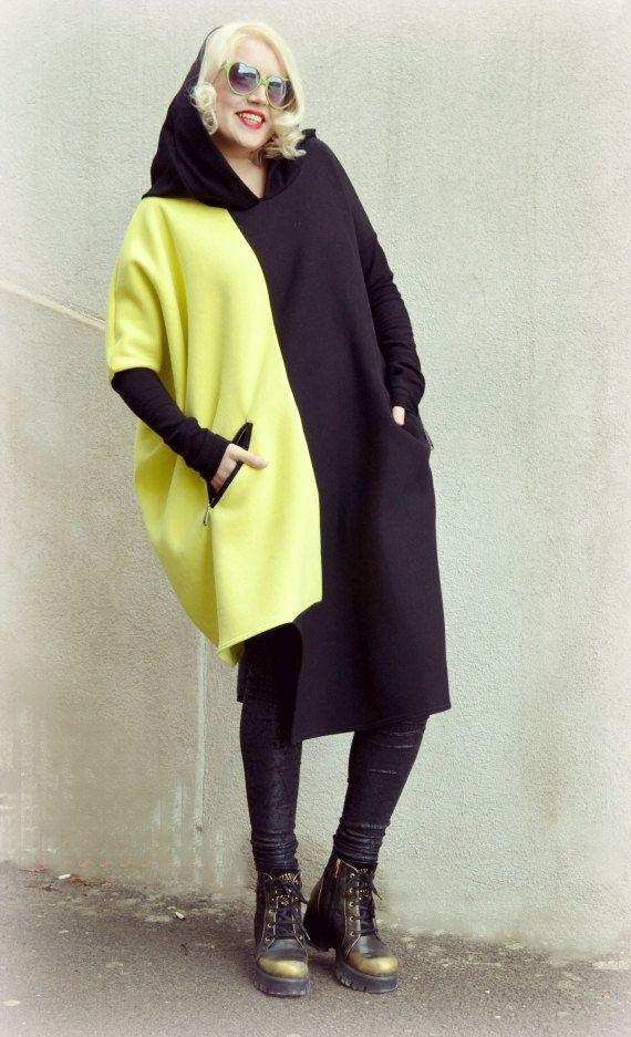 Black and Yellow Sweatshirt / Extravagant Hoodie / Cotton Sweatshirt / Asymmetrical Hooded Sweatshirt / Funky Cotton Hoodie TDK165 / SPRING